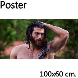Poster Can Yaman sin camiseta, medidas 100x60 cm.