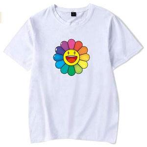 Camiseta J Balvin flor de colores blanca