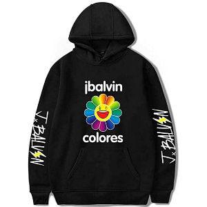 Sudadera J Balvin colores negra con el nombre en las mangas