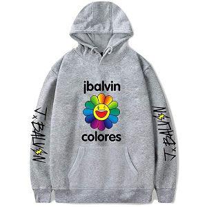 Sudadera J Balvin gris disco colores con el nombre en las mangas